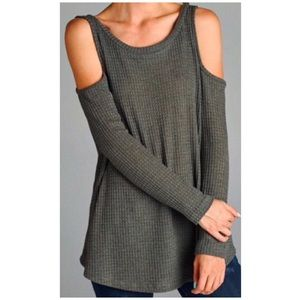 Tops - Olive Waffle Knit Top